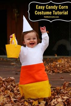 Baby Candy Corn 17 Mind-Blowingly Cute And Simple Halloween Costumes For Kids Halloween Costumes Pictures, Homemade Halloween Costumes, Diy Halloween Costumes For Kids, Easy Halloween, Infant Halloween, Halloween Sewing, Group Halloween, Toddler Costumes, Halloween 2016