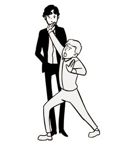 """Sherlock (gif)* Benedict Cumberbatch on Martin Freeman: """"He's always doing kung fu on me. We'll be standing around, and I won't be paying any attention to him, and then he suddenly goes, 'HYYYMMNNNN' and his hand is right next to my windpipe."""" This is the best thing ever, always. Nothing will ever compare to this XD"""