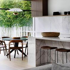 """Mim Design on Instagram: """"Kitchen and dining combined with loads of natural daylight , always a good combination. Great shot @sharyncairns #ddmresidence #mimdesign…"""" Australian Interior Design, Interior Design Awards, A Touch Of Zen, Bamboo Screening, Mim Design, Great Shots, Kitchen Dining, Dining Chairs, Table"""
