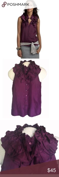 """J.Crew Ruffle Collar Silk Blouse 🎁FREE GIFT when you bundle 2 or more items!!🎁 J.Crew ruffle collar sleeveless blouse. 100% silk. Unlined. Deep purple color. Button front. Size 2. Measurements, lying flat: 19"""" chest (armpit to armpit), 16.5"""" length (armpit to hem). Sexy and fun! J. Crew Tops Button Down Shirts"""