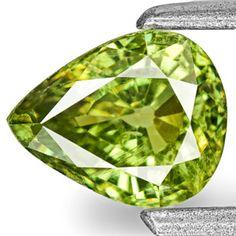 0.68-Carat Pear-Shaped Neon Green Demantoid Garnet from Namibia