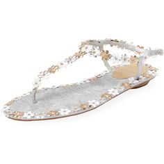 Rene Caovilla Women's Metallic Floral Thong Sandal - Gold ($319) ❤ liked on Polyvore featuring shoes, sandals, gold, ankle strap sandals, floral sandals, gold flat sandals, flat shoes and gold low heel sandals