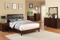 Enrico I Brown Cherry Leatherette Platform Queen Bed