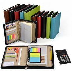 Cuero cuaderno espiral A5 / A6 cremallera agenda planner organizador, multifunción portátil traer un negocio calculadora cuaderno del libro en Libretas de Escuela y Oficina en AliExpress.com   Alibaba Group