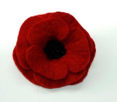 Red Felt Poppy Flower Brooch Pin by ZMFelt on Etsy, £8.00