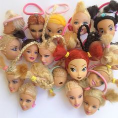 ♥♥ Barbie head ponytails ♥♥ One of a kind ponytails! Handmade :) Super resistant, these wont break or fall apart. I experimented and even tried to