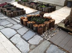 Blomsterkasser av gamle laftestokker. Patio, Garden, Outdoor Decor, Pictures, Home Decor, Photos, Garten, Terrace, Lawn And Garden