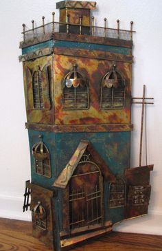 Vtg MCM Mixed Metal Wall Art Sculpture Hotel Curtis Jere Style Building House #beachcombers