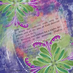 Buy Prints of Quote #6 Joy, a Digital on Canvas by Jamie Kalvestran from . It portrays: Floral, relevant to: pink, quotes, blue, green, joy, magenta This print is one in a series based on quotes selected randomly from the Dictionary of Quotations. The work is created intuitively without any preconceived idea of what will show up on the page.