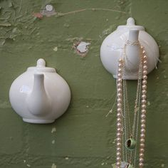 Tea pot spout hooks by Louise Buchan via notonthehighstreet.com - i have some of these for jewellery and some in the kitchen for tea towels but I'm pretty sure I can find more uses for them...
