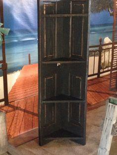 Old wooden door corner shelf