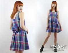 Vintage 90s Blue Plaid Babydoll Dress S M 90s Grunge Dress Blue Plaid Dress Bow Dress 90s Plaid Dress 90s Dress