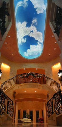 A cloud ceiling mural - AMAZING!