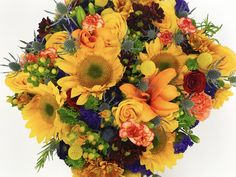 Fall bold colored flowers in a box Flower Boxes, Flowers, Floral Wreath, Wreaths, Chic, Rose, Fall, Color, Home Decor