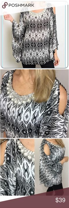 """Boho Beautiful Bling Bell Sleeve Dolman Top SM One of a kind top featuring embellished neckline (pearls & silver sequins), flutter dolman bell sleeves & cold off the shoulder. Amazingly gorgeous, sexy & feminine in an ivory & black tribal print!  Wrinkle free non-stretch 100 % Polyester S M   Small 2/4 Bust 32-34 Length 27"""" Medium 6/8 Bust 34-36 Length 28"""" striped Tops"""