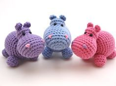 """""""Amigurumi Hippos. I want to learn knitting!"""" <-- Since these are crocheted, that might not be worth you're time. But they ARE cuties!"""