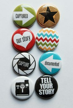 These are one inch flair buttons. There are 8 buttons in this set. Colors coordinate with PL. Rock Painting Ideas Easy, Badge Design, Button Badge, Cute Pins, Custom Buttons, Your Story, Pin Collection, Told You So, Artsy