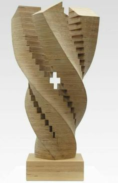 Step Twist Sculpture Small By Jack Youngerman size 12x19x12 Baltic Birch plywood wood structure released from 1995-2000.