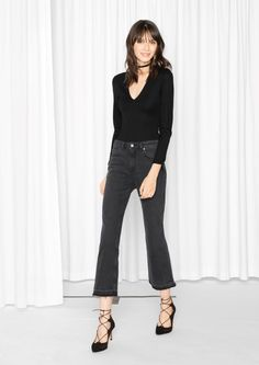 & Other Stories Cropped Flare Denim  in Washed Black/Grey