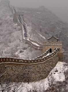 The Great Wall of China in winter .