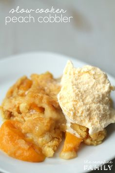 Slow Cooker Peach Cobbler from TheCampfireFamily.com.  Only 3 ingredients and so delicious!
