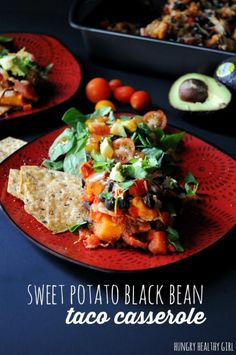 Use organic dairy! Sweet Potato Black Bean Taco Casserole- A family-friendly Mexican inspired meal, that's as tasty as it is healthy. Veggie Recipes, Mexican Food Recipes, Whole Food Recipes, Vegetarian Recipes, Cooking Recipes, Healthy Recipes, Vegetarian Dinners, Vegan Dinners, Yummy Recipes