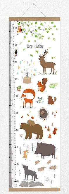 Messlatte Tiere des Waldes + Posterleiste A3 Eiche Hurra, ich wachse! Ein leises Rascheln im Gebüsch, ein kleiner Schatten springt von Ast zu Ast. Da eine Pfotenspur. Von wem mag sie sein?...