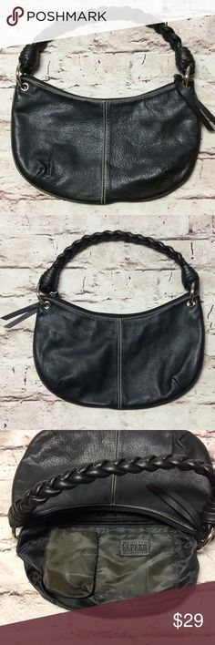 LAUREN RALPH LAUREN SMALL BLACK LEATHER HOBO BAG This little cutie is super clean and free of defects. Only the lining has some fading as shown in pic   Signature lining and adorable braided straps. Beautiful pebble grained soft leather. Lauren Ralph Lauren Bags Hobos