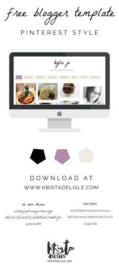 Kylie Jo Free Blogger Template | Krista DeLisle