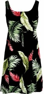 67d8f291d3c Empire Tie Front Short Tank - Floating Red Ginger Empire Waist Scoop Square  Neck Knee Length Hawaiian Aloha Pull-Over Dress - Regular and Plus Size