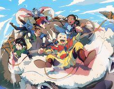 Toph, Sokka, Zuko, Momo, Aang, Katara, and Appa