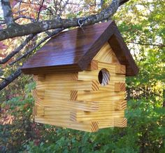 .cross-hatch log cabin-ish  birdhouse