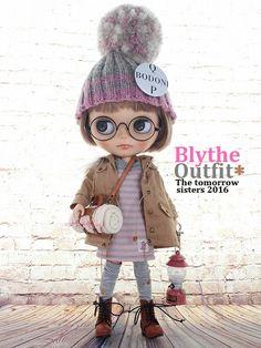 ◆Blythe Outfit◆ブライス♪モッズコートコーデ♪7点セットNO61_ブライス本体・眼鏡は付属しません。