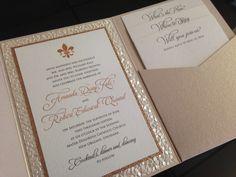 Rose gold touches for a New Orleans wedding. #RoseGold #WeddingInvitation #FleurdeLis #NewOrleans