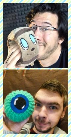 Markiplier and Jacksepticeye with their plushies. =3