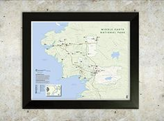 Decoration:Middle Earth Map National Park Style 16x20 Poster ** For more information, visit image link.