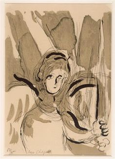 'Angel with a Sword' by Marc Chagall from the 'Bible Series, 1956 (lithograph)