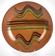 Antique Redware Dish with Green and Copper Maganese, Pennsylvania, 19th Century, entire view