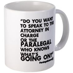 CafePress - Paralegal In Charge [Text Bla Mug - Unique Coffee Mug, 11oz Coffee Cup *** Additional details at the pin image, click it  : Coffee Mugs