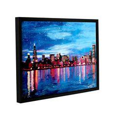 ArtWall Marcus/Martina Bleichner's Chicago Skyline at Dusk, Gallery Wrapped Floater-framed