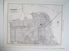 Vintage Street Map of San Francisco Black and by amykristineprints, $18.00