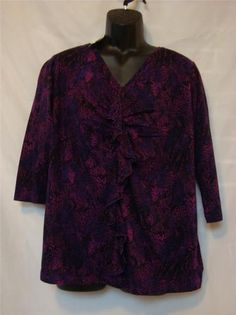 Jones New York Woman Plus Size (1X) Purple Multi Ruffle Front Top - NWT Ret $56 - Buy It Now for $14.99 plus shipping