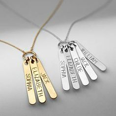 silver loved ones stamped pendant