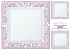 8 x 8 Purple 2 Lace Frame Plus Two 4 x 4 Frames on Craftsuprint - Add To Basket!