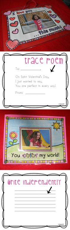Decorate Saint Valentine's Day frames and trace or write a message on the reverse.  $