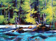 NATURALLY MAGICAL  Solo exhibit of new landscape paintings by Tatjana Mirkov-Popovicki July 17 – Aug 4, 2018  in The Studio Connexion Gallery, Nakusp, BC  This photo features the Whitewater Study I, original painting by Tatjana Mirkov-Popovicki