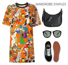 """""""T-shirt dress"""" by lushxoxo ❤ liked on Polyvore featuring Moschino, Vans, GiGi New York, Karen Walker, modern, contest, pattern, contestentry and tshirtdress"""