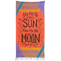 Natural Life 'Live by the Sun' Beach Towel ($60) ❤ liked on Polyvore featuring home, bed & bath, bath, beach towels and orange