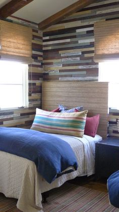 a variety of mismatched wood planks dominate the walls