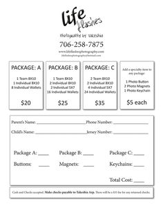 Elegant Youth Sports Photography Order Form | Choose Packages And Have Payment  Ready On The Day We Idea